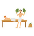 smiling man wearing towel massaging another man vector image