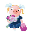 smiling pupil pig with a backpack and bouquet vector image