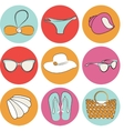 summer beach accessories icon set vector image