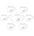 teapot and cups contours vector image vector image