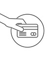 thin line hand holding credit card vector image