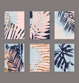 tropical monstera palm leaves banner set in retro vector image