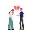 unrequited one sided love broken heart teenage vector image vector image