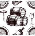 wine pattern sketch background seamless vector image vector image