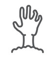 zombie hand line icon undead and halloween vector image vector image