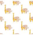 graphic giraffe and big elephant seamless pattern vector image