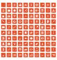 100 researcher science icons set grunge orange vector image vector image