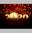 2020 new year celebration with clock and firework vector image
