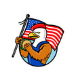 american eagle holding burger and usa flag mascot vector image vector image