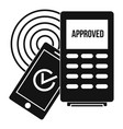 approved terminal payment icon simple style vector image vector image