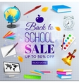 Back to school sale banner template vector image
