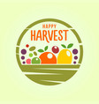 basket with harvest - stylized cut out icon vector image
