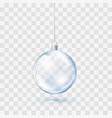 blue glass transparent christmas ball xmas glass vector image