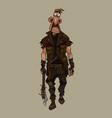 cartoon man in post apocalypse clothes strides