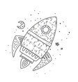 cartoon rocket hand drawn outline vector image
