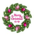 christmas wreath with red balls vector image
