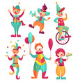 circus clowns cartoon clown comedian juggling vector image