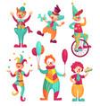 circus clowns cartoon clown comedian juggling vector image