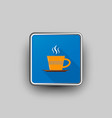 coffee cup square icon vector image vector image