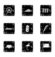 Country Singapore icons set grunge style vector image vector image