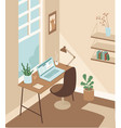 cozy and comfortable home office vector image vector image