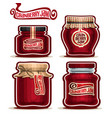 cranberry jam in glass jars vector image vector image