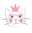 cute princess cat with a crown vector image vector image