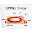 Dinning table Diagram vector image vector image