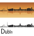Dublin skyline in orange background vector image vector image