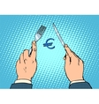 European Euro knife and fork financial concept vector image vector image