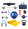 fitness club equipment and gym garments icons vector image