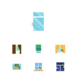 flat icon window set of frame curtain glass vector image vector image