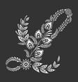 floral uppercase white letter l monogram on black
