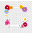 frame with flowers transparent background vector image vector image