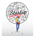 graphic designer character with startup icons vector image vector image