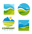 green nature landscape icons templates for vector image