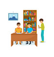 guys in library reading books recording data vector image