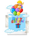 happy birthday card with girl on balloons vector image vector image