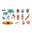 hawaiian tiki icons summer tropical art vector image
