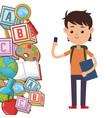 kid school bag supplies vector image