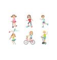 kids summer outdoor activities set cute boys and vector image vector image