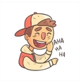 Laughing Boy In Cap And College Jacket Hand Drawn vector image vector image