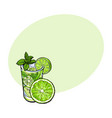 lime slice and glass of freshly squeezed juice vector image vector image