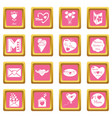 mother day icons set pink square vector image vector image