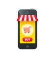 Online market in smartphone icon vector image