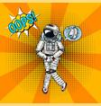 oops pop art astronaut soaring spaceman cosmonaut vector image