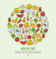 organic food concept in circle vector image vector image