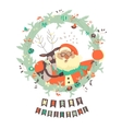 Reindeer and Santa embracing each other vector image vector image
