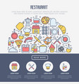 restaurant concept in half circle vector image vector image