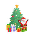 santa sitting on gift box near fir-tree vector image vector image